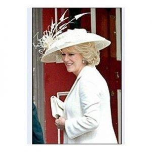 Camilla Wearing Hat of Window Pane Straw