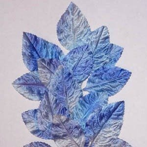 Polished Vintage Leaf Spray Blue Multi