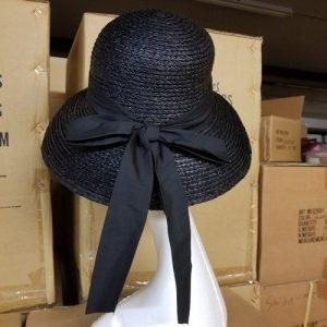 Sewn Raffia Braid Hat Back