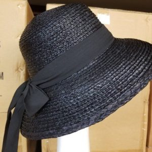 Sewn Raffia Braid Hat Side