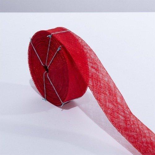 Sinamay Bias Ribbon Red