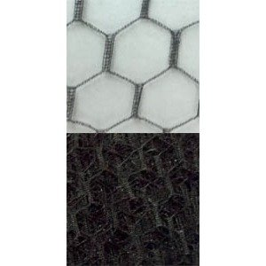 Vintage French Silk 12 Hexagon Black