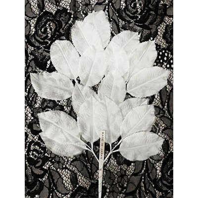 White Vintage Silk Leaf Spray
