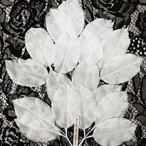 Vintage Silk Leaf Spray White B